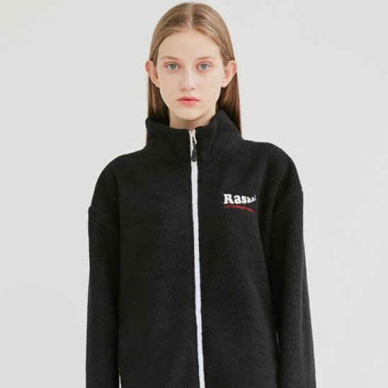 SHEEP FLEECE ZIP-UP JACKET / BLACK