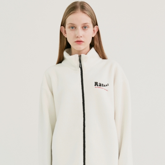 SHEEP FLEECE ZIP-UP JACKET / WHITE
