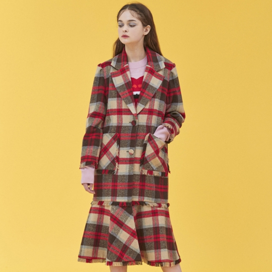 MERMAID CHECK COAT_RED (EEOG4CTR02W)