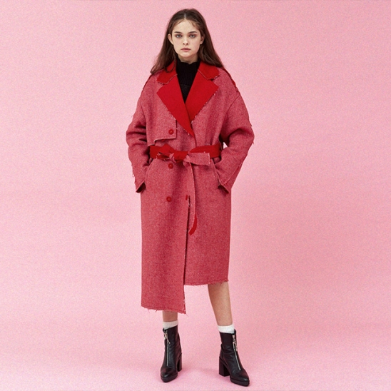 DIAGONAL STRIPE WOOL TRENCH COAT_RED (EEOG4CTR03W)