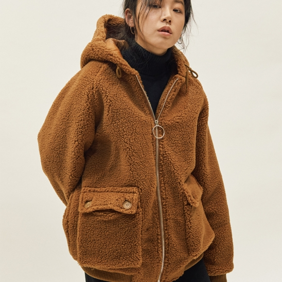ESTO FLEECE HOOD JUMPER BROWN
