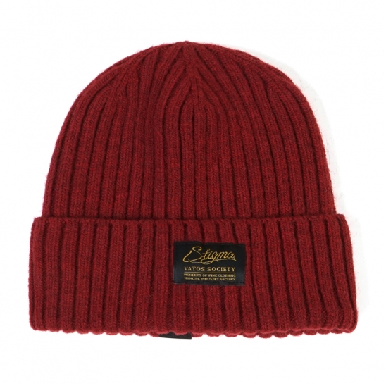 LABEL WOOL BEANIE BURGUNDY