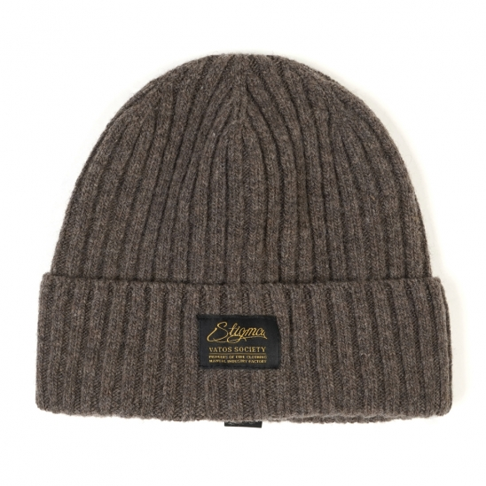 LABEL WOOL BEANIE BEIGE