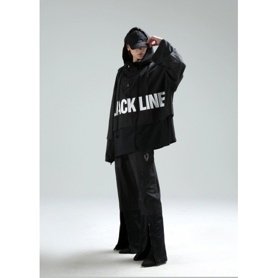 VLACK LINE - DOUBLE COVERED CAPE HOODIE JACKET (BLACK)