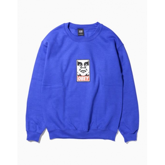 OBEY ICON FACEBASIC BOX CREW NECK FLEECE ROYAL BLUE / 스웻셔츠 맨투맨