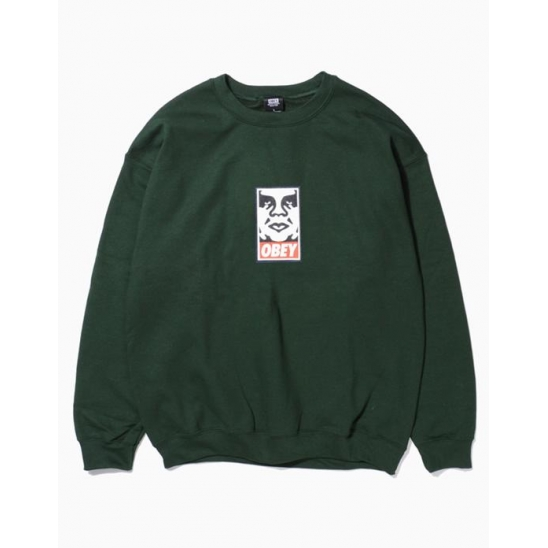 OBEY ICON FACEBASIC BOX CREW NECK FLEECE FOREST GREEN / 스웻셔츠 맨투맨