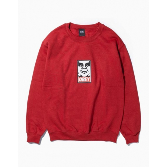OBEY ICON FACEBASIC BOX CREW NECK FLEECE RED / 스웻셔츠 맨투맨