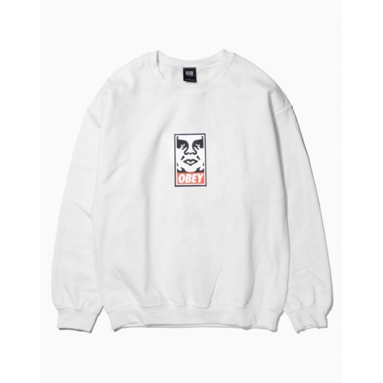 OBEY ICON FACEBASIC BOX CREW NECK FLEECE WHITE / 스웻셔츠 맨투맨