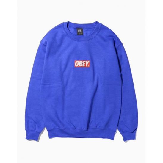 OBEY BAR LOGOBASIC BOX CREW NECK FLEECE ROYAL BLUE / 스웻셔츠 맨투맨