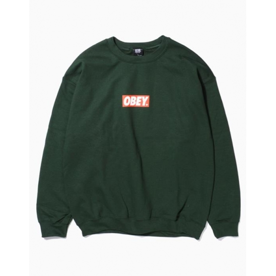 OBEY BAR LOGOBASIC BOX CREW NECK FLEECE FOREST GREEN / 스웻셔츠 맨투맨