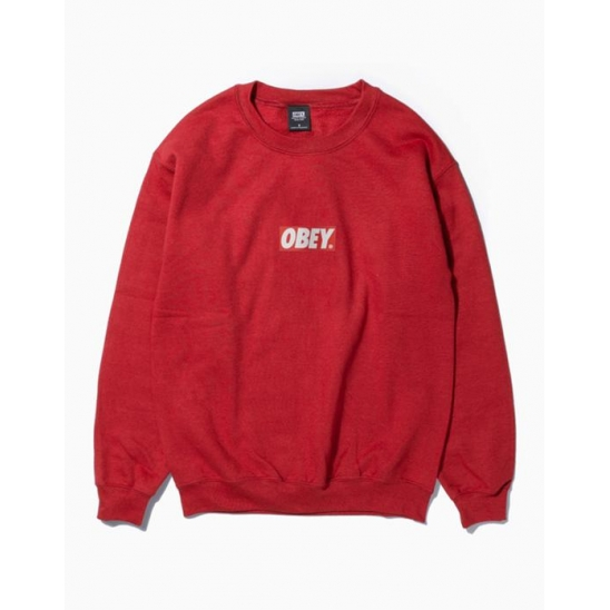 OBEY BAR LOGOBASIC BOX CREW NECK FLEECE RED / 스웻셔츠 맨투맨