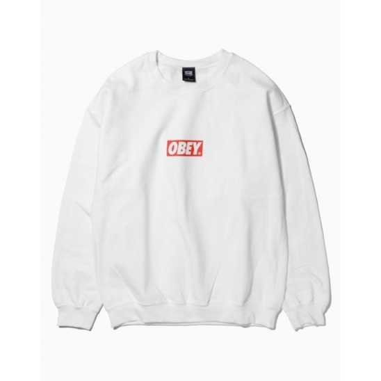 OBEY BAR LOGOBASIC BOX CREW NECK FLEECE WHITE / 스웻셔츠 맨투맨