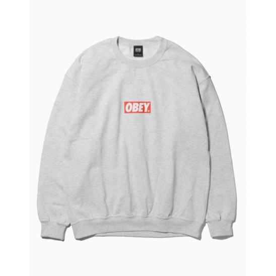 OBEY BAR LOGOBASIC BOX CREW NECK FLEECE HEATHER GREY / 스웻셔츠 맨투맨