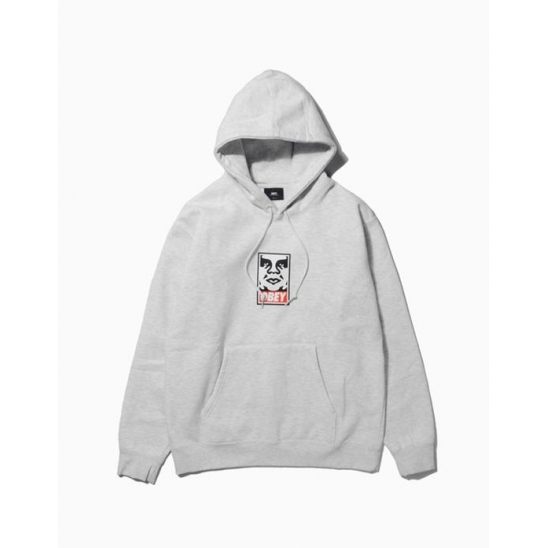 OBEY ICON FACEBASIC PULLOVER HOOD HEATHER GREY / 스웻후드
