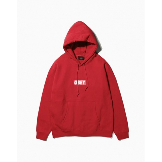 OBEY BAR LOGOBASIC PULLOVER HOOD RED / 스웻후드