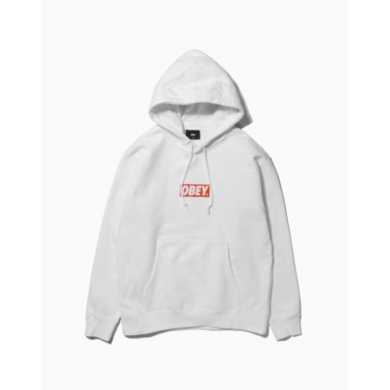 OBEY BAR LOGOBASIC PULLOVER HOOD WHITE / 스웻후드