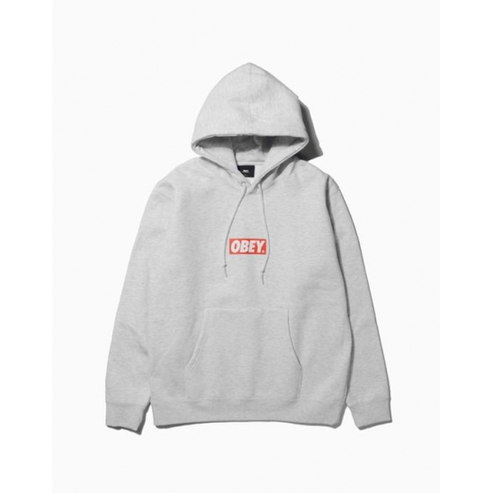 OBEY BAR LOGOBASIC PULLOVER HOOD HEATHER GREY / 스웻후드