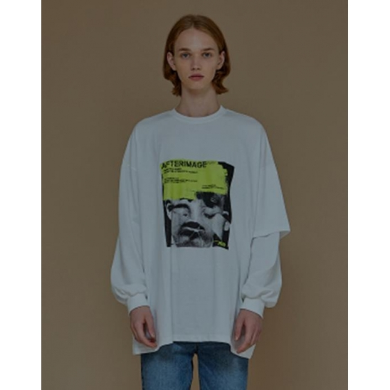 AFTERIMAGE DOUBLE SLEEVE TEE IVORY IVORY / 더블슬리브 티셔츠