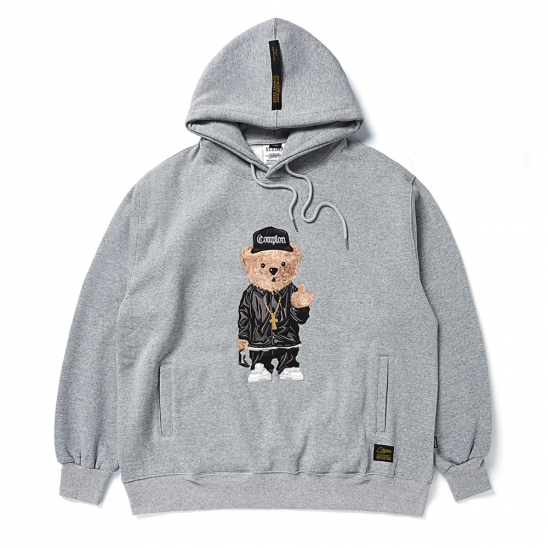 EMB COMPTON BEAR OVERSIZED HEAVY SWEAT HOODIE GREY