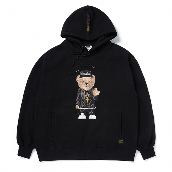 EMB COMPTON BEAR OVERSIZED HEAVY SWEAT HOODIE BLACK
