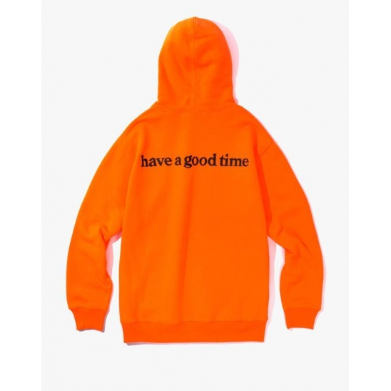 Side Logo Pullover Hoodie - Neon Orange / 후드 티셔츠