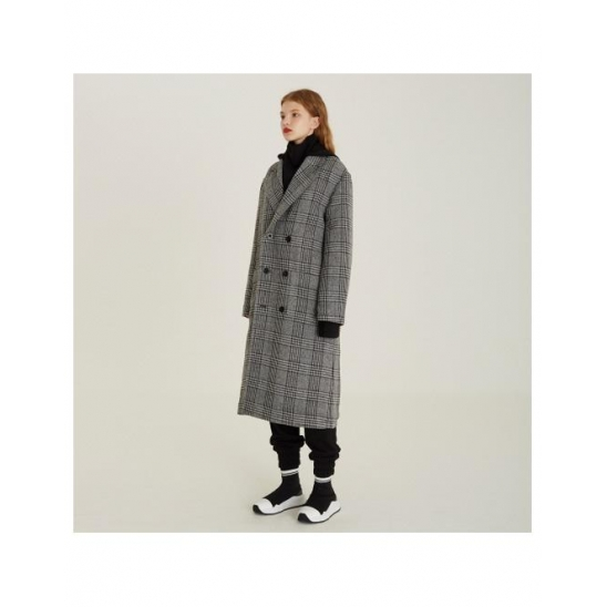 Detachable Hood Check Coat (BK)