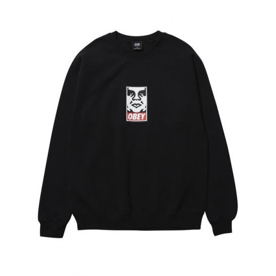 OBEY ICON FACEBASIC BOX CREW NECK FLEECE BLACK / 스웻셔츠 맨투맨