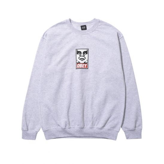 OBEY ICON FACEBASIC BOX CREW NECK FLEECE HEATHER GREY / 스웻셔츠 맨투맨