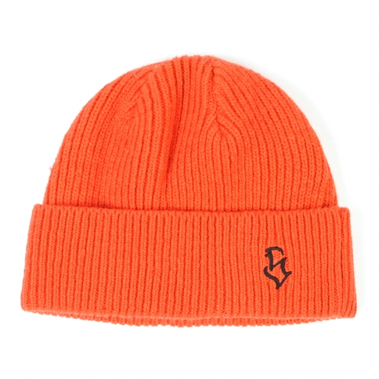 S - LOGO WOOL SHORT BEANIE ORANGE