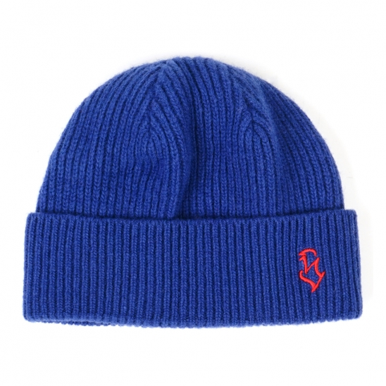 S - LOGO WOOL SHORT BEANIE BLUE