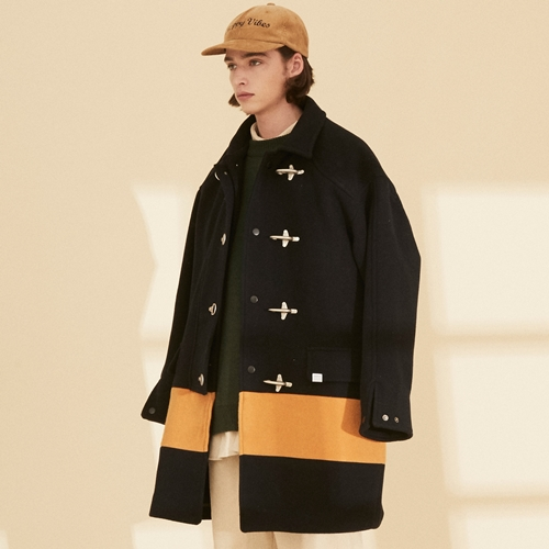 OL126_Color Block Coat_Navy-Mustard