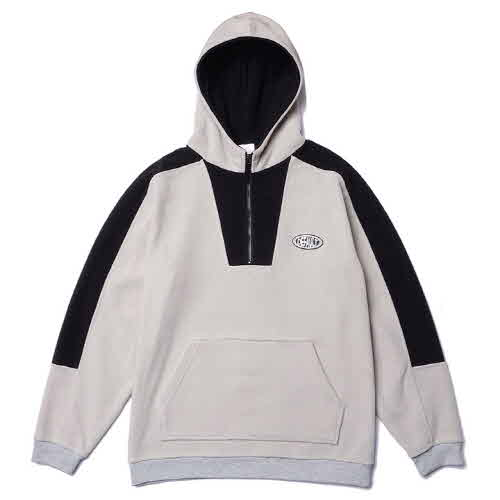 HOODY COLOR BOX HALF ZIP-UP FLEECE(GRAY)