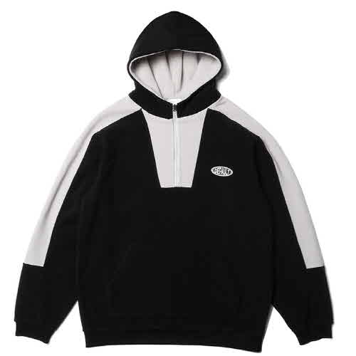 HOODY COLOR BOX HALF ZIP-UP FLEECE(BLACK)
