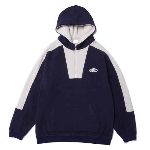 HOODY COLOR BOX HALF ZIP-UP FLEECE(NAVY)