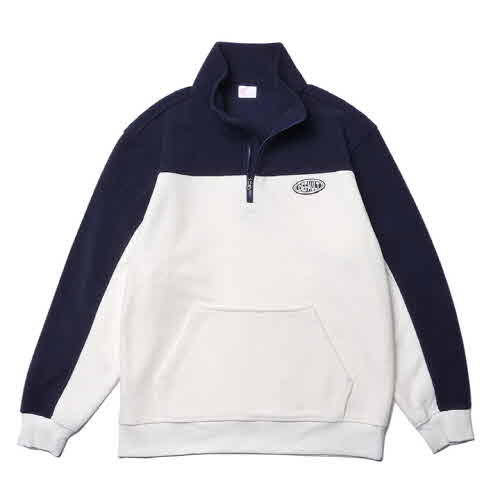 PATCH TWO-TONE HALF ZIP-UP(IVORY)