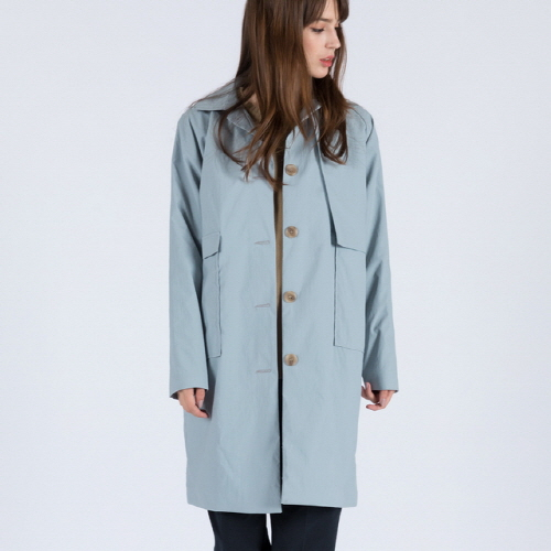 WOMENs TAKESADA MINIMAL MAC COAT (GREYISH BLUE)
