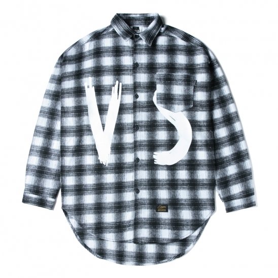 VSC OVERSIZED WOOL CHECK SHIRTS WHITE