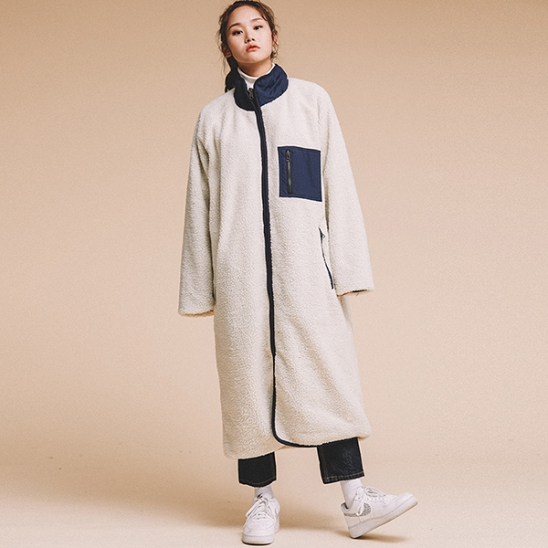 OVERFIT FLEECE REVERSIBLE LONG JACKET IVORY