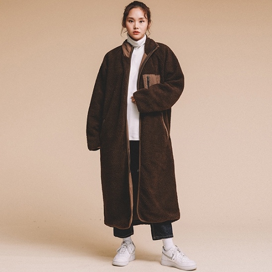 OVERFIT FLEECE REVERSIBLE LONG JACKET BROWN
