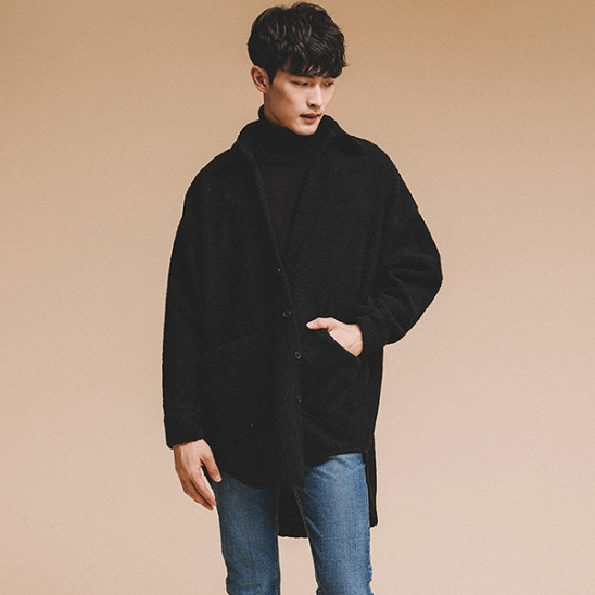 OVERFIT FLEECE SHIRTS JACKET BLACK