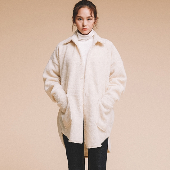 OVERFIT FLEECE SHIRTS JACKET IVORY