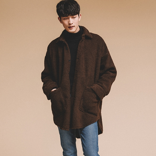 OVERFIT FLEECE SHIRTS JACKET BROWN