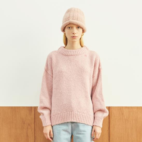 HEAVY ROUND LONG SLEEVE KNIT (PINK)