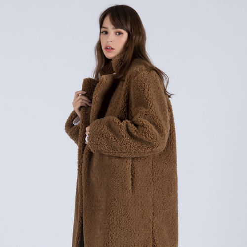 WOMENs ECO LAMBs WOOL TADYBEAR CLASSIC COAT (BROWN)