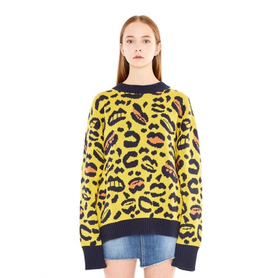 Lip&Leopard Pattern Knit YELLOW