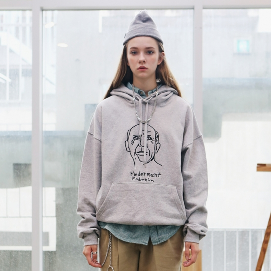 [Unisex]PICASSO DRAWING HOODIE(gray)
