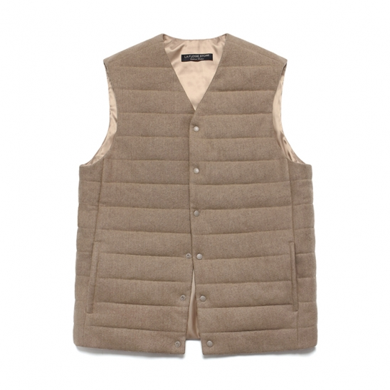 (Unisex) Cashmere Blend Padding Vest_Cream Beige