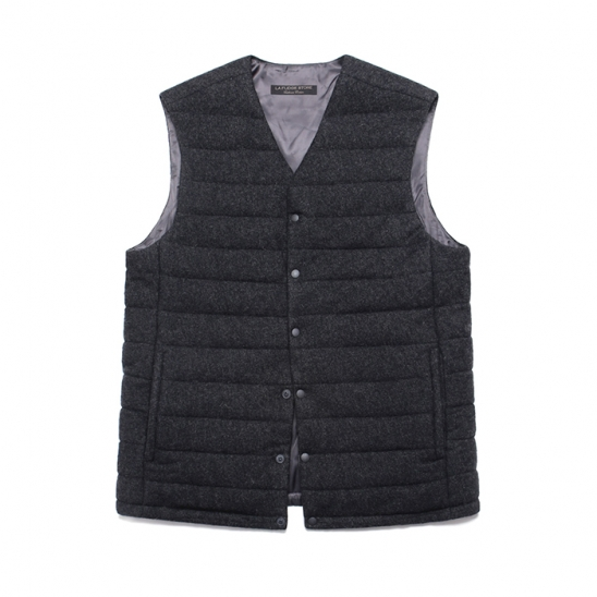 (Unisex) Cashmere Blend Padding Vest_Charcoal