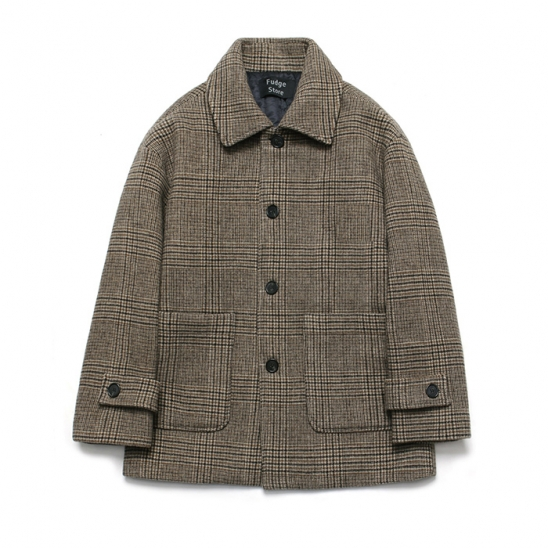 (Unisex) Cashmere Blend Glen Half Coat_Check