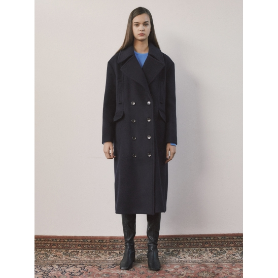 18fw R ocean long coat navy